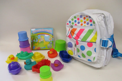 Toddler backpack filled with bath toys