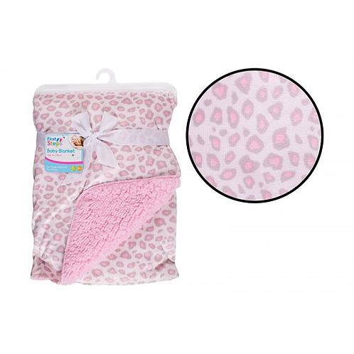 Pink Animal Print Sherpa Blanket