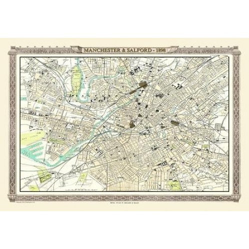 Map of Manchester and Salford 1898 - 1000 Piece Jigsaw Puzzle