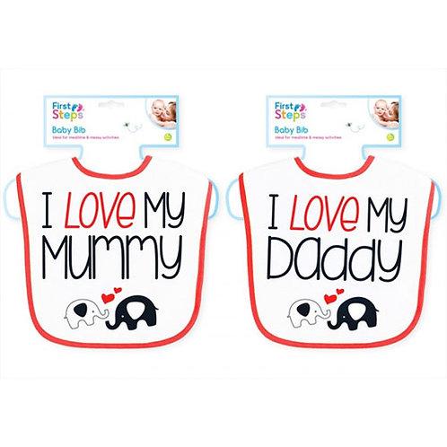 Baby Love Mummy / Daddy bibs