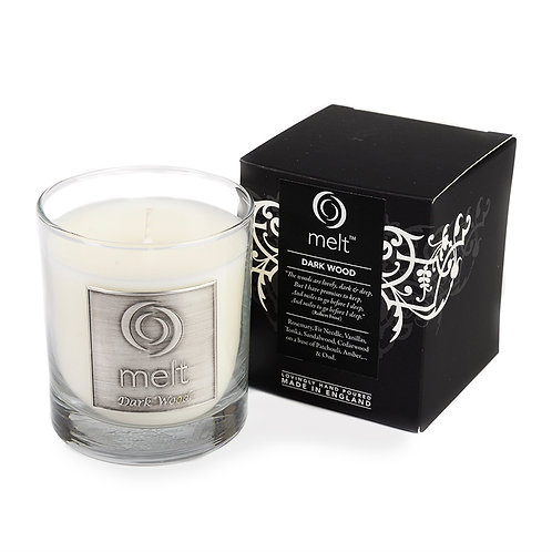 Dark Wood scented luxury glass jar candle