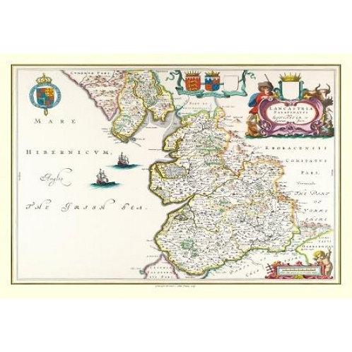 Map of Lancashire 1648 - 1000 Piece Jigsaw Puzzle