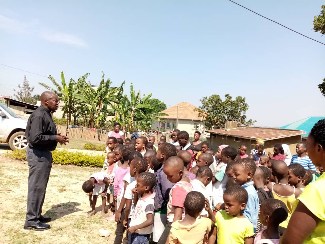 Father teaching children