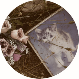 Kitty Tin & Fake Flowers, Graveside Mementos, 2018, Sepia toned and hand-coloured silver gelatin print
