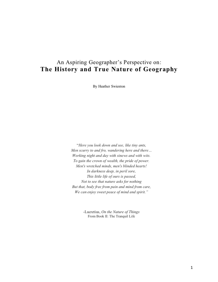 History and Nature of Geography
