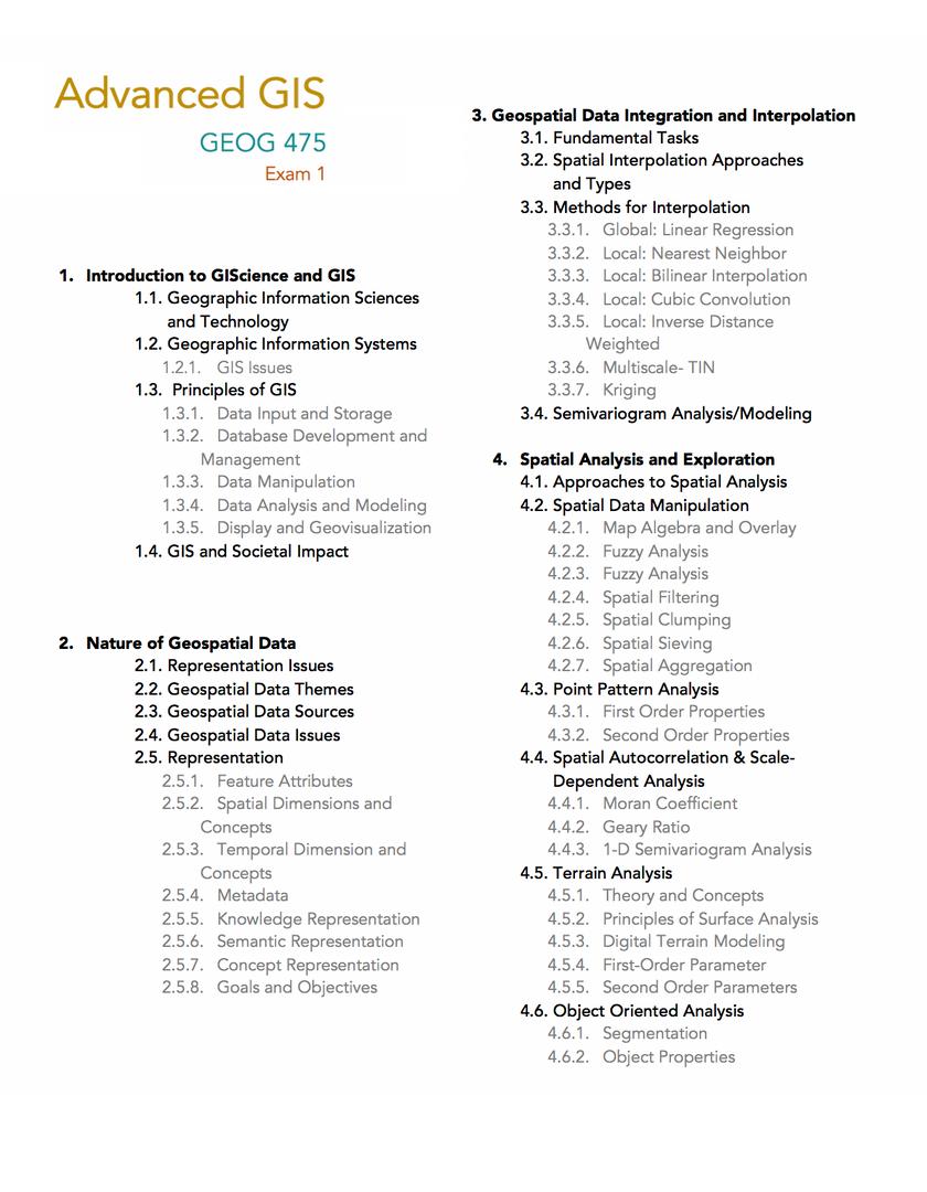 Advanced GIS Exam Outline