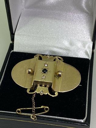 15K Gold, Sapphire & Rose Cut Diamond Locket Brooch