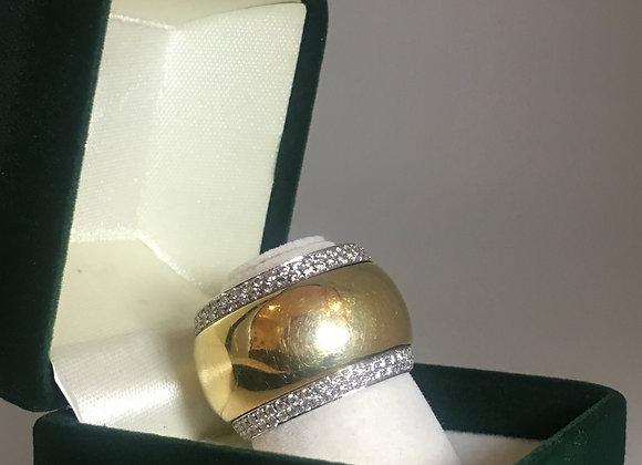 18K Yellow & White Gold Diamond Rotating Cocktail Ring
