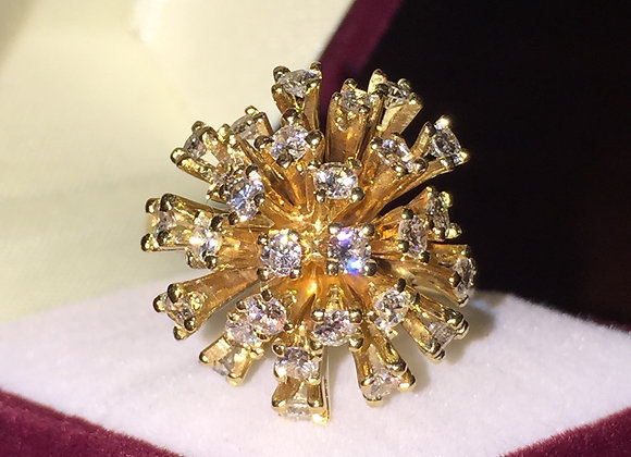 Cocktail Gold & Diamond Cluster Ring