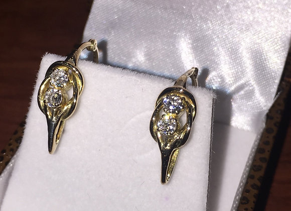An Art-Deco Gold and Diamond Half Hoop Earrings