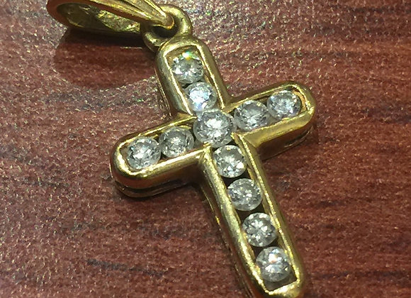 18K Yellow Gold & Diamond Crucifix/Cross Pendant