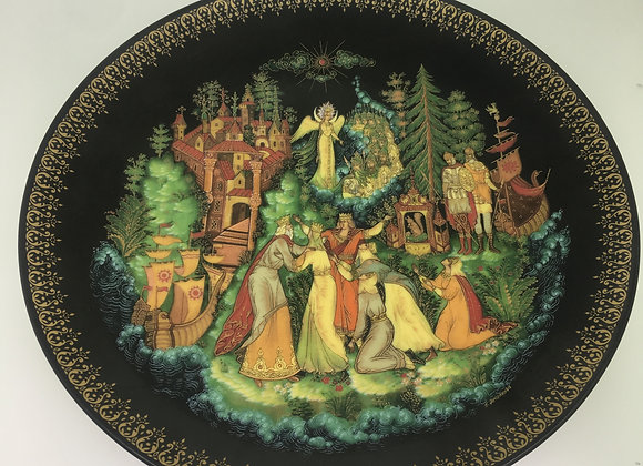Russian Palekh Porcelain Decorative Plate