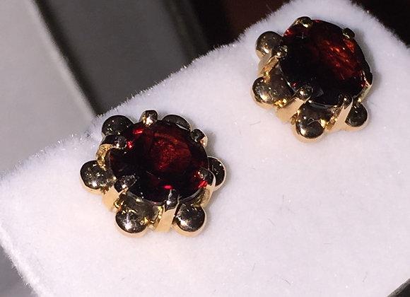 Rose Gold & Garnet Russian Vintage Studs