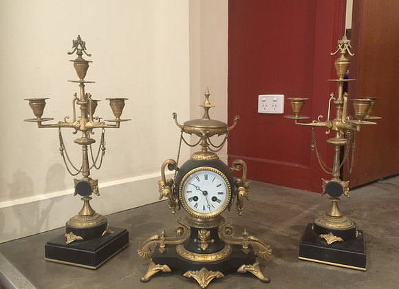 An Antique French Clock Garniture Set