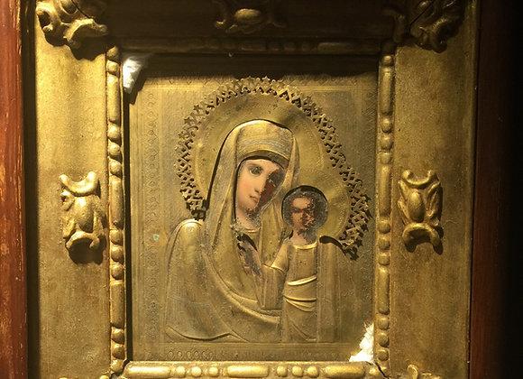 XIXc Kazan Mother of God Icon in Gilt