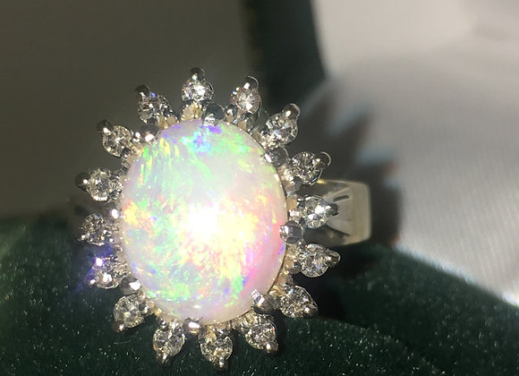 2.50ct Solid Opal & Diamond Ring in 18K Gold/Platinum