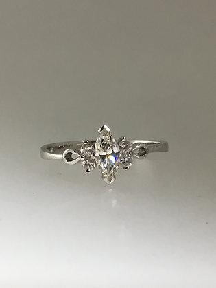 Marquise & Round Diamond Dress Ring in Platinum