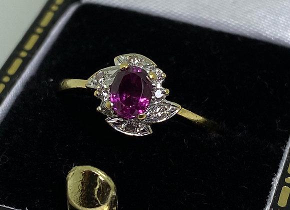 Rare Pink Garnet (January birthstone), Diamond, 18K Gold Ring