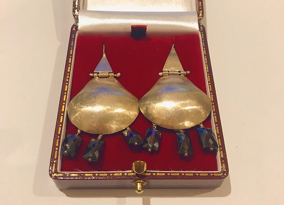 Sterling Silver & Garnet Pendant Earrings