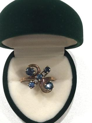 Sapphire and Diamond Retro ring