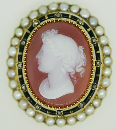 Gold, Onyx, Seed Pearl, Enamel & Diamond Cameo Brooch
