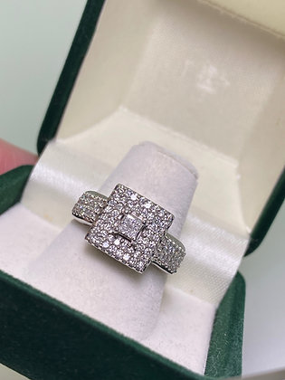 1.50ct Diamond Cluster Cocktail Ring in 18K White Gold