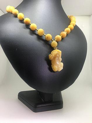 Natural Yellow Jade Bead Necklace