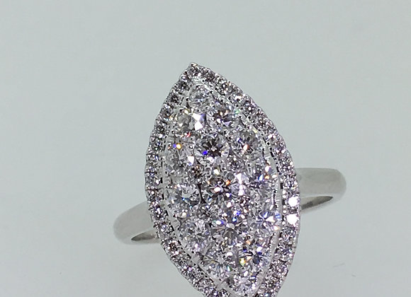 Impressive Marquise Shaped Diamond Cluster Ring