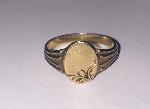 9K Yellow Gold Mens' Signet Ring