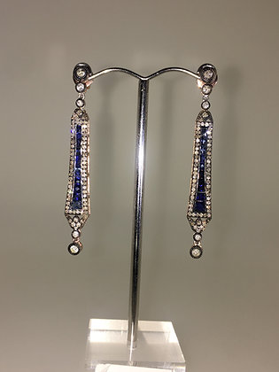 Art-Deco Style Gold and Silver Sapphire & Rose Cut Diamond Pendant Earrings