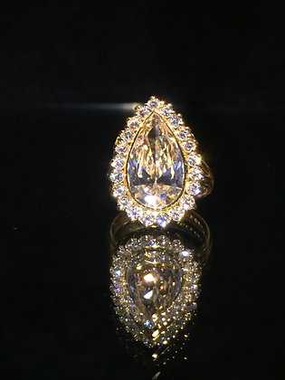 5.16ct Pear Shaped Champagne Diamond Handmade Ring