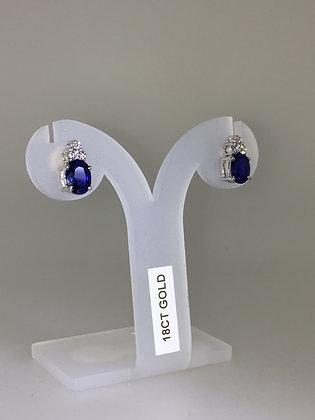 3.00ct Sapphire & Diamond Stud Earrings in 18K White Gold
