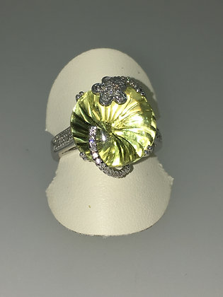 """Lemon Quartz """"Oro Verde"""" & Diamond Cocktail Ring in 18K White Gold"""