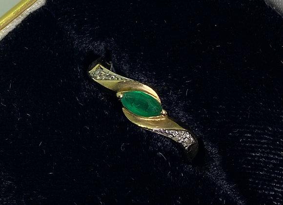 0.25ct Marquise Emerald & Diamond Ring in 9K Yellow Gold. Circa 1970's.