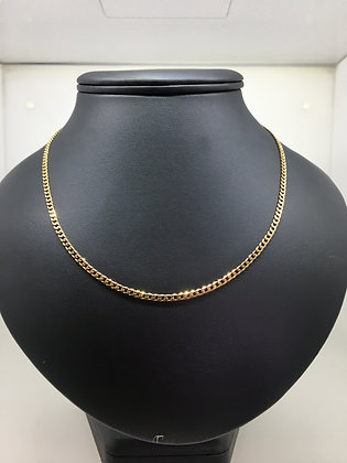 9K Yellow Gold Flat Curb Link Vintage Chain