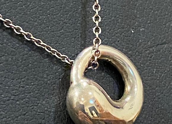 Tiffany & Co Elsa Peretti 925 Silver Eternal Circle Pendant Necklace