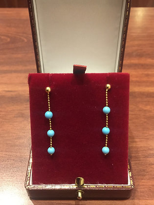 14K Yellow Gold & Turquoise Vintage Italian Earrings