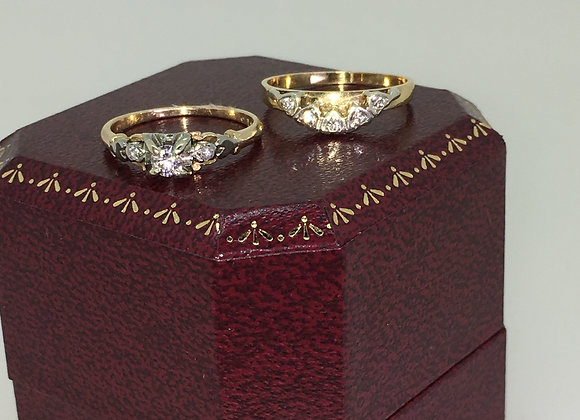18K Gold, Platinum & Diamond Engagement Ring & Wedding Band