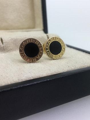 Bvlgari Bvlgari 18K Yellow Gold & Black Onyx Stud Earrings
