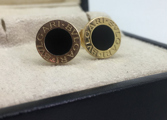Bvlgari Bvlgari 18K Yellow Gold & Black Onyx Stud Earrings