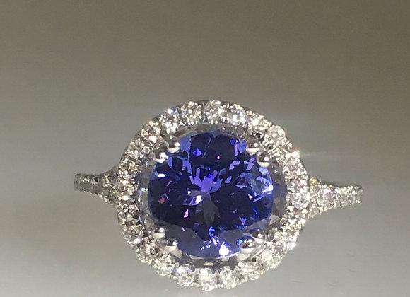 Round Tanzanite (V-AAA) & Diamond Ring in 18K White Gold
