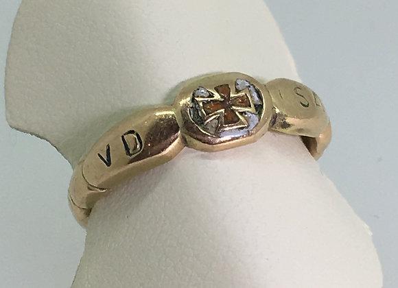 14K Gold & Enamel Dedication Ring featuring German Iron Cross, c1917