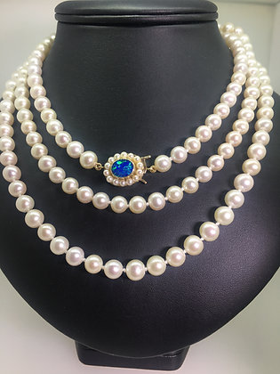 Cultured Pearl Necklace with 9K Gold, Opal & Pearl Clasp