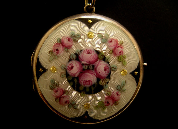 Antique Silver & Enamel Locket on Silver Chain.