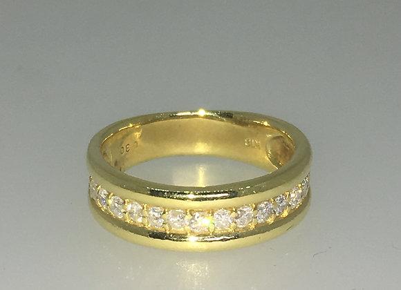 18K Yellow Gold & 0.30ct Diamond Band