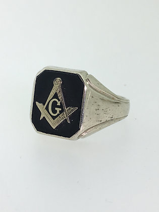 10K White Gold & Black Onyx Square and Compass Signet Ring