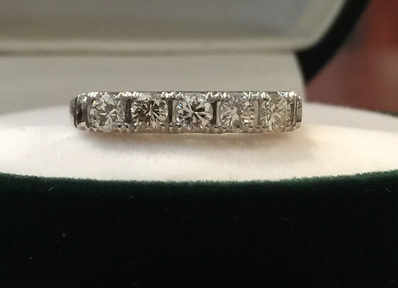 5-Stone Diamond (0.40ct in total) & Platinum Half Hoop Ring