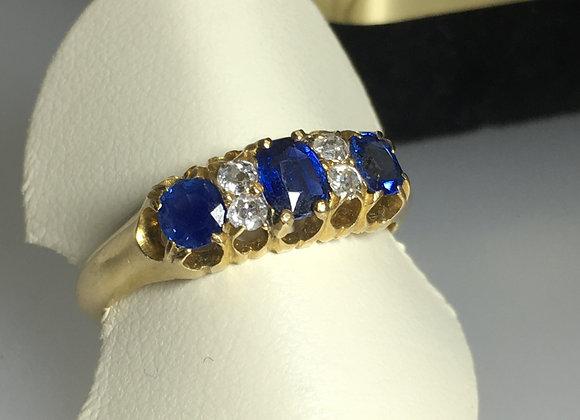 Sapphire & Diamond Half Hoop Ring