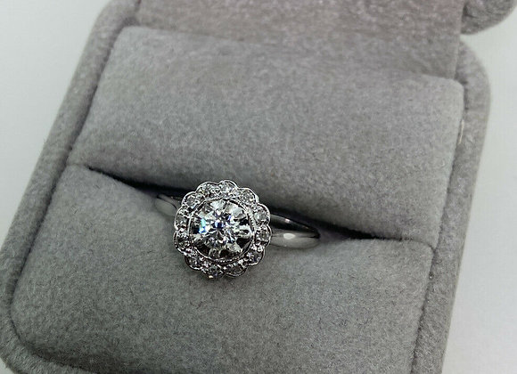 Daisy Shaped Old-Cut Diamond Cluster Ring in Platinum