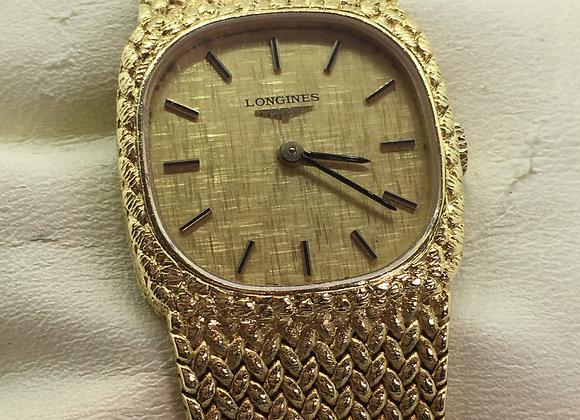 18K Gold Longines Retro Cushion Shaped Ladies Wristwatch